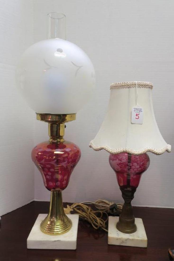 Three Vintage Cranberry Glass Lamps with Marble Bases: - 2