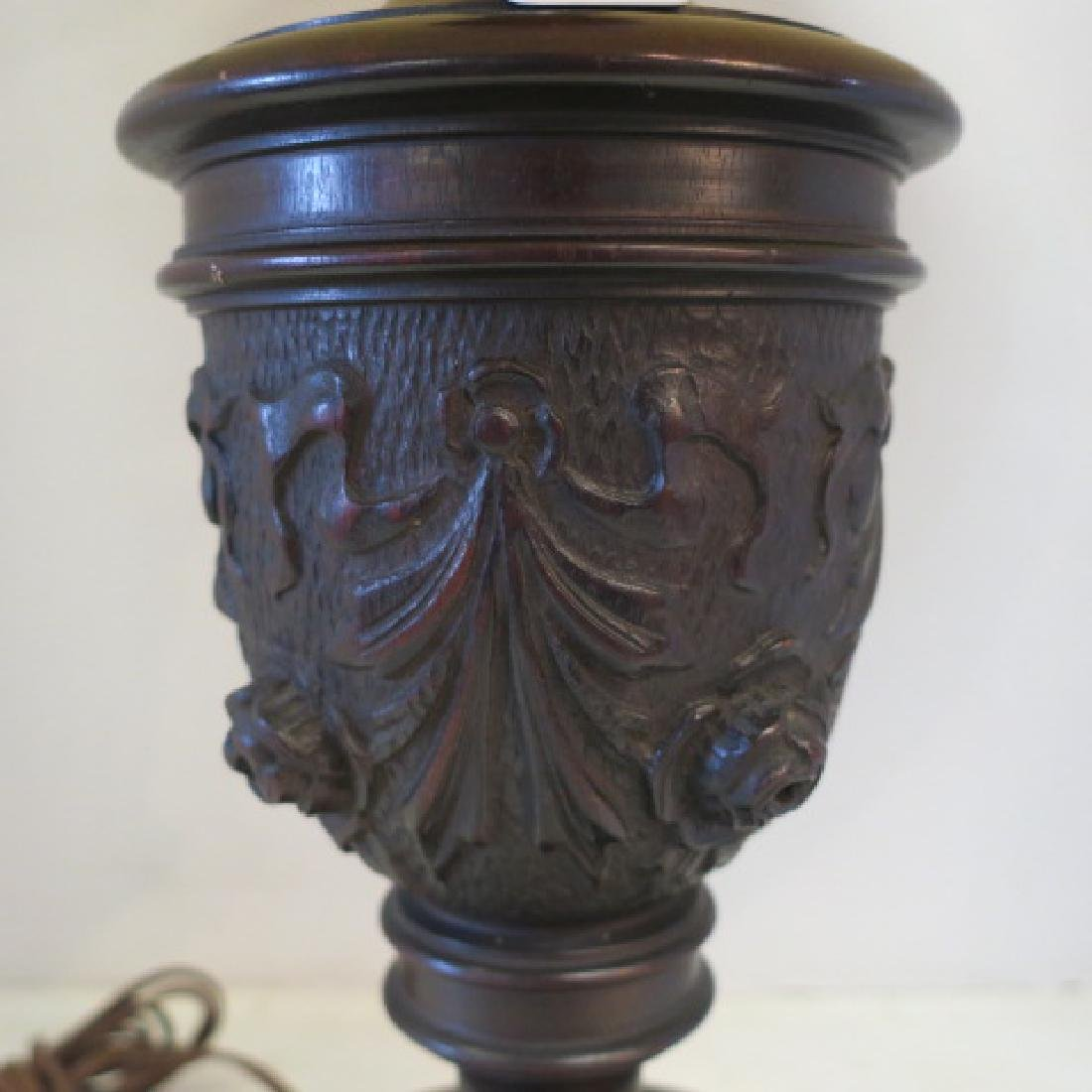 Rose Carved Wooden Table Lamp by E. KOPIWA Company: - 2