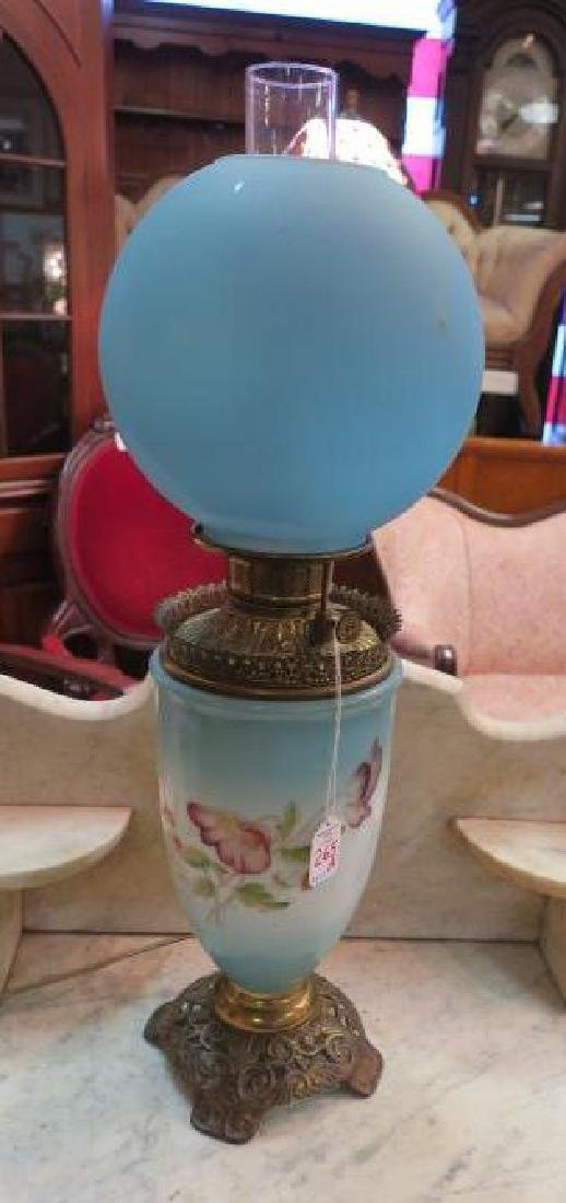 Electrified Brass and Glass Oil Lamp: