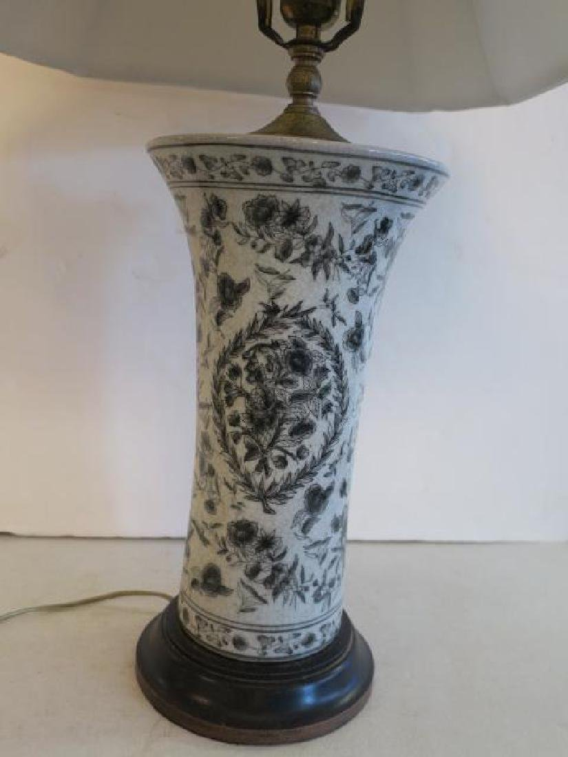Black on White Table Lamp with Shade: - 2