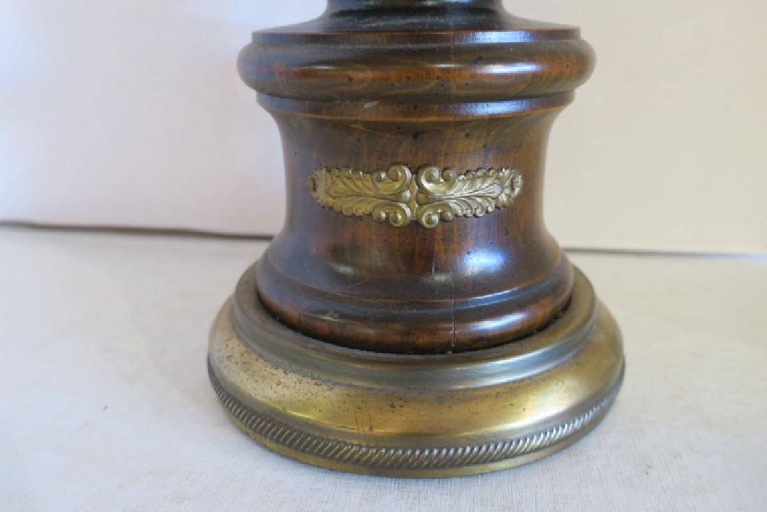 Baluster Shape Parquet Wooden Table Lamp: - 3
