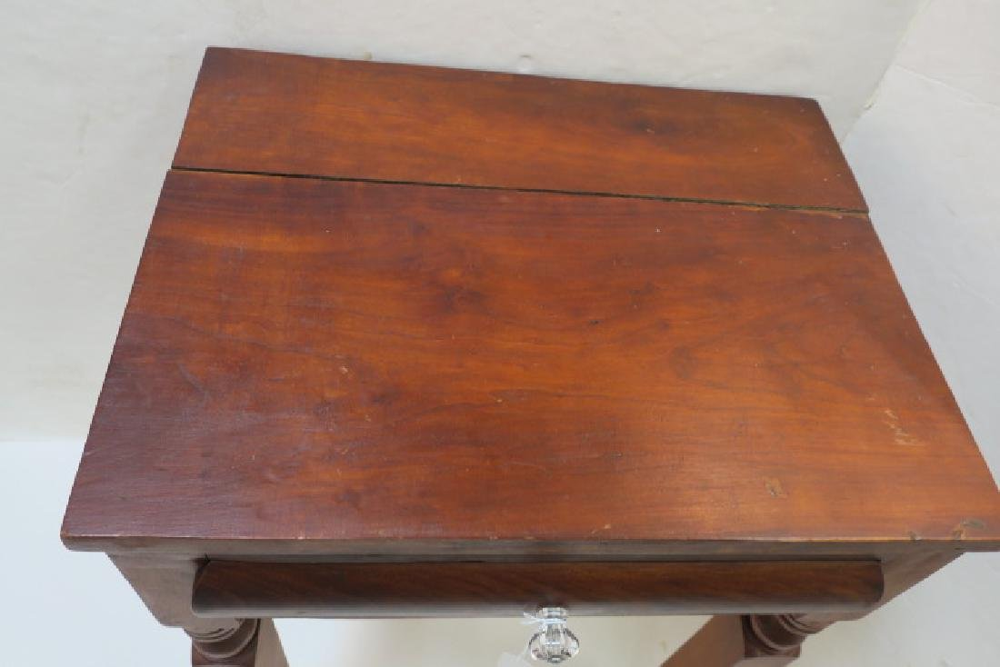 19th C. Single Drawer Mixed Wood Wash Stand: - 2