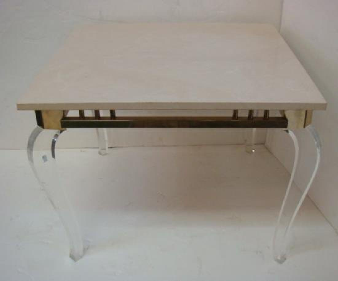 Square Stone Top Side Table on Lucite Legs: