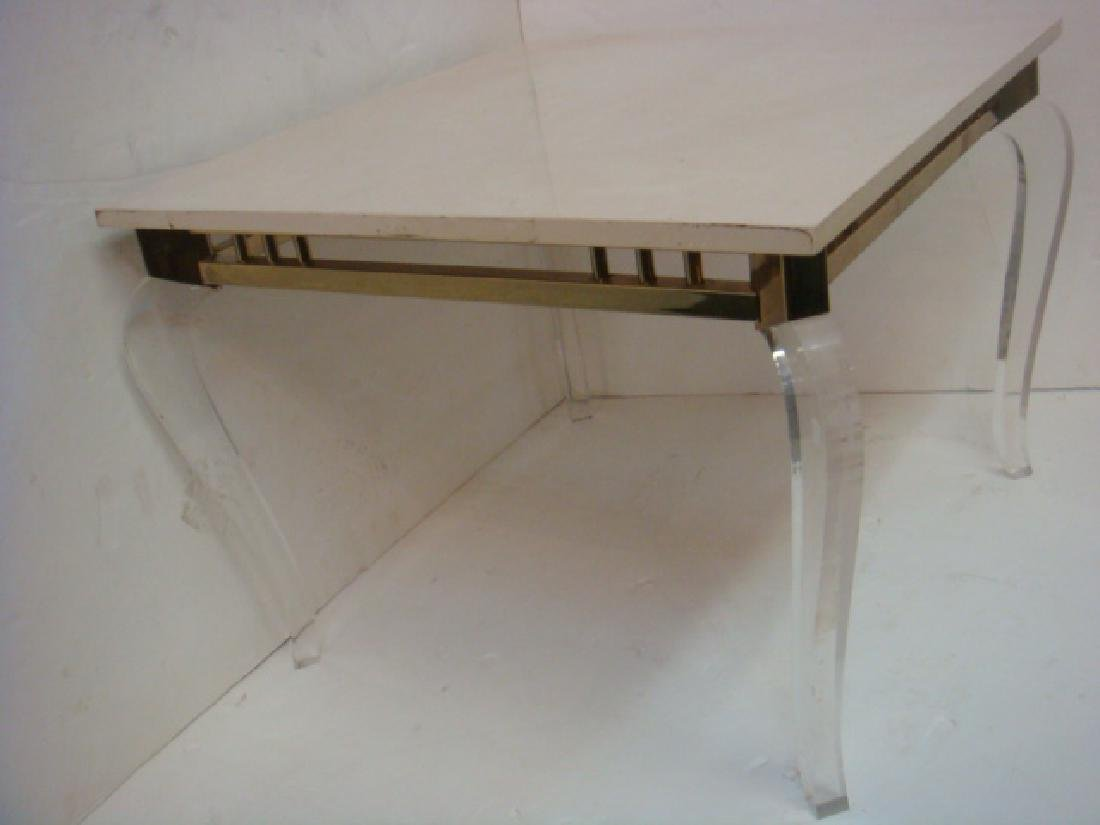 Square Stone Top Side Table on Lucite Legs: - 2