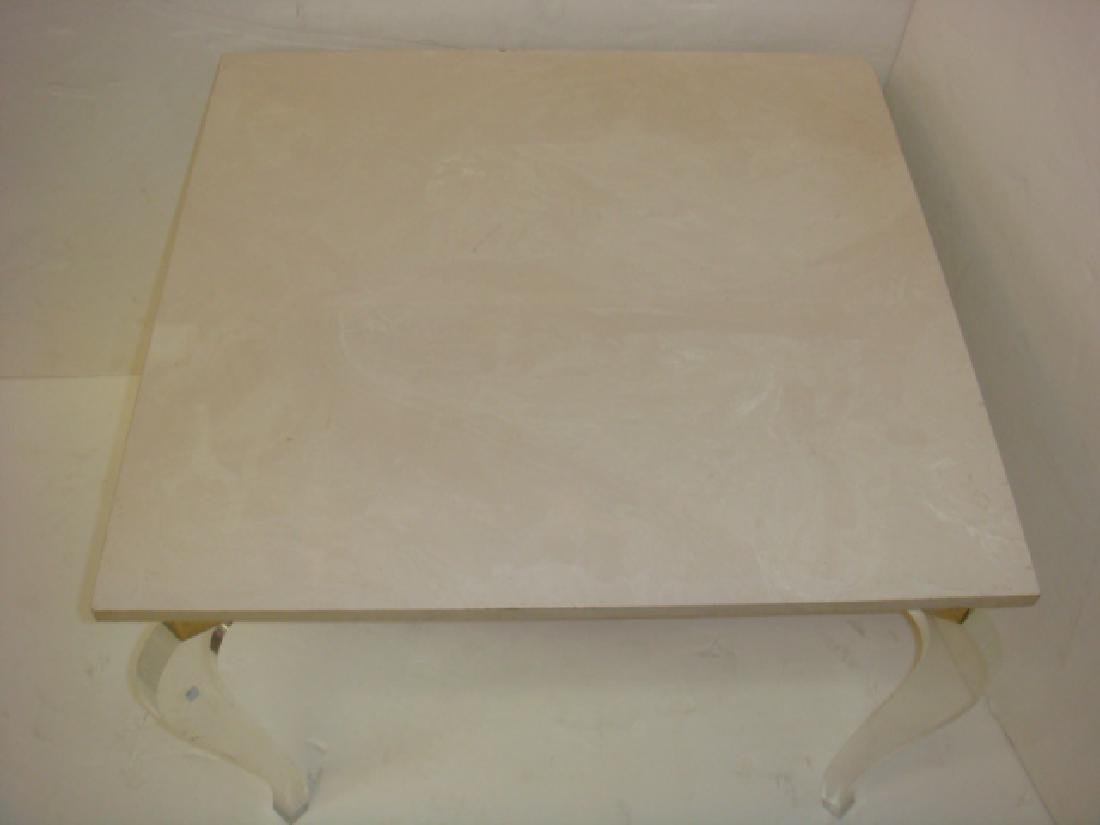 Square Stone Top Side Table on Lucite Legs: - 3