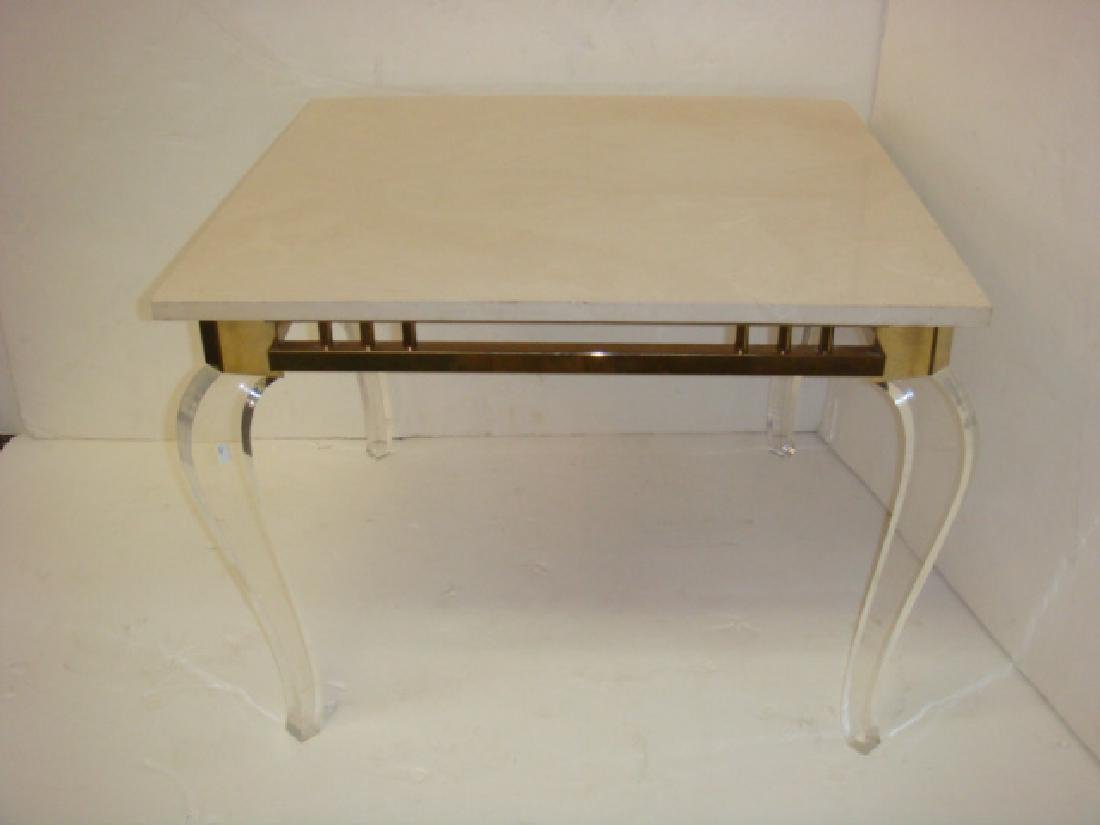 Square Stone Top Side Table on Lucite Legs: - 4