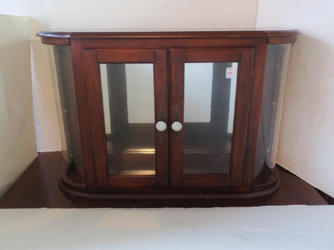 Mahogany Cabinet with Curved Glass Side Panels: