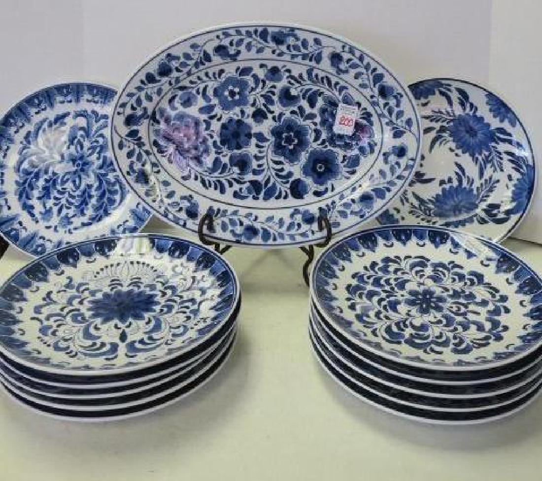 Blue and White Platter and Twelve Plates: