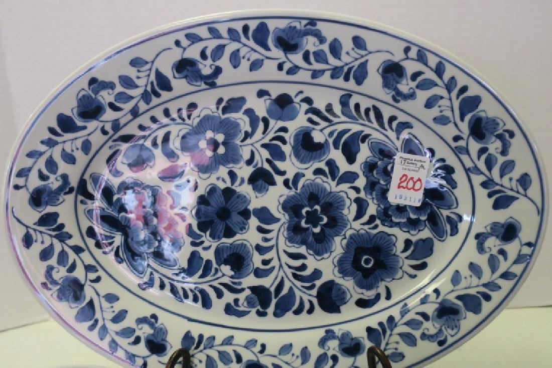 Blue and White Platter and Twelve Plates: - 2