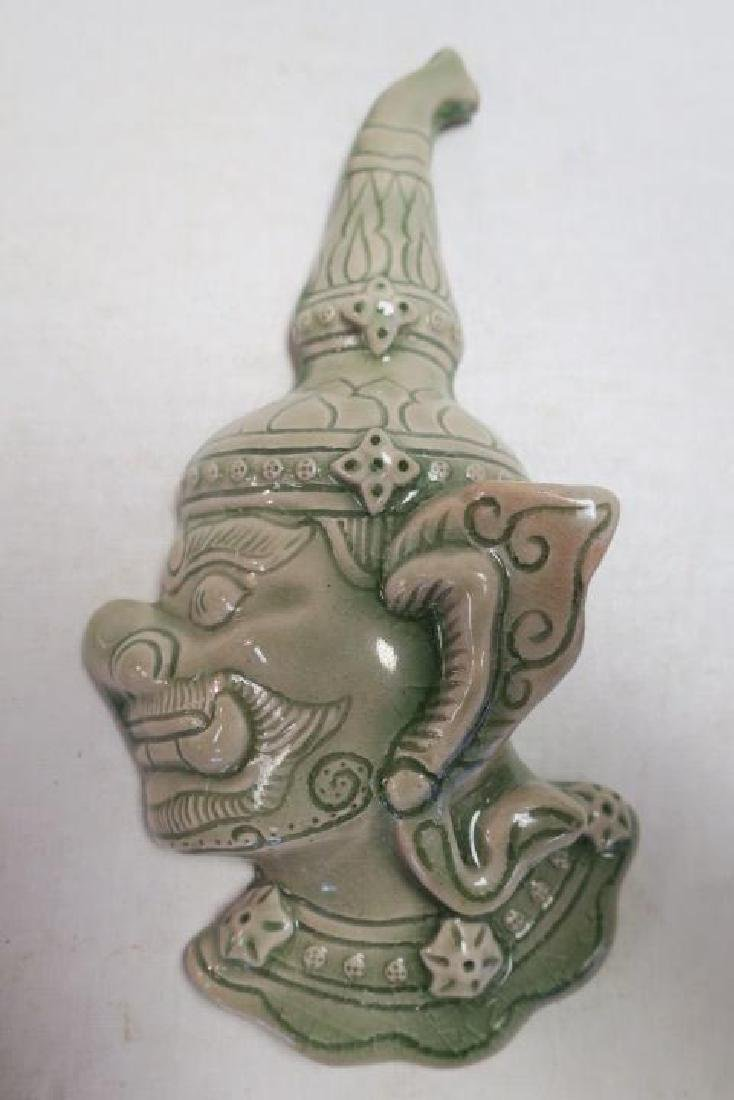 Two Celadon Pottery Thai Ceremonial Wall Figures: - 2