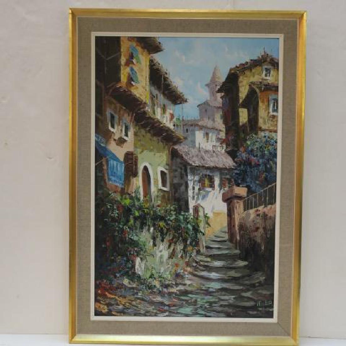 Village Landscape Oil on Canvas Signed ELLER: