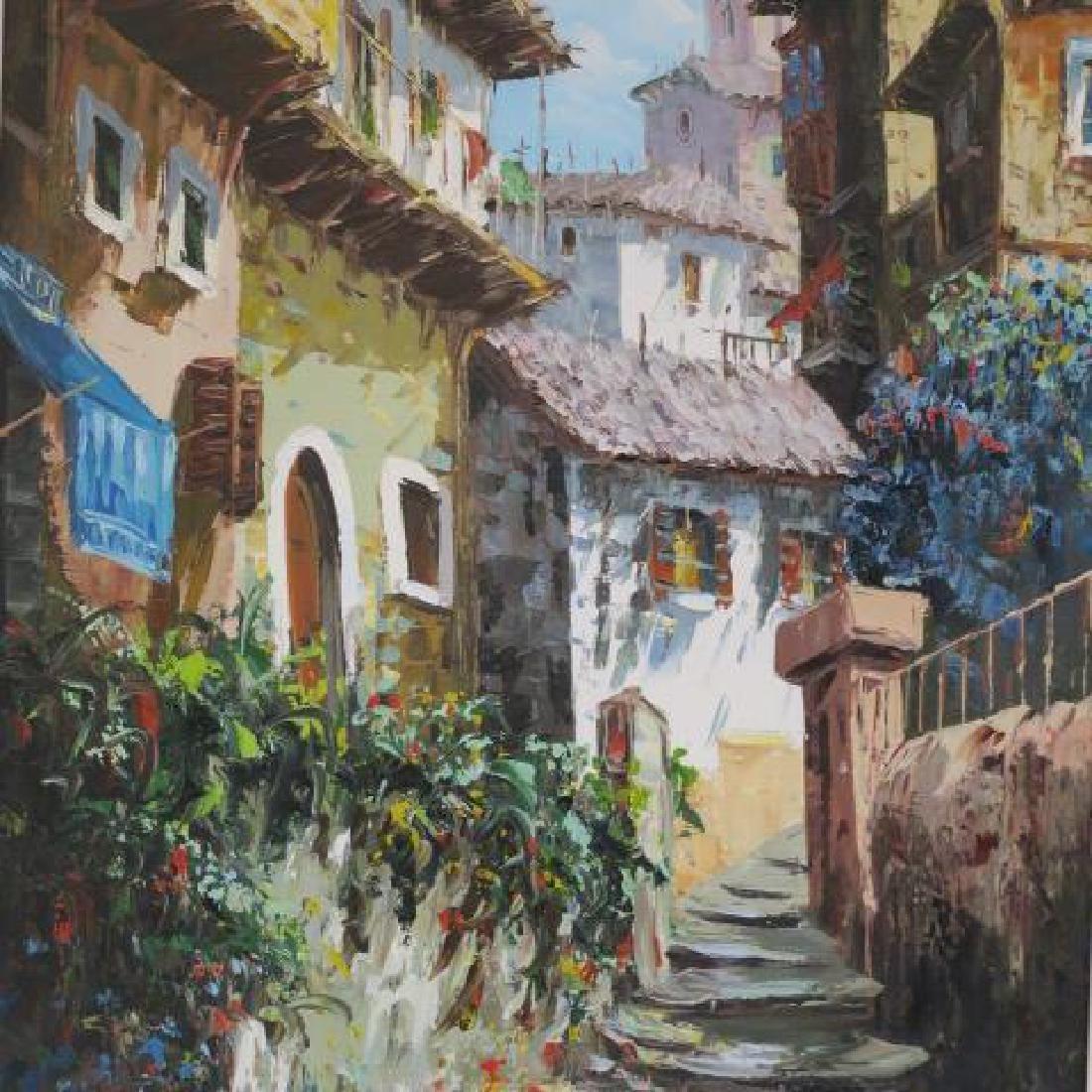 Village Landscape Oil on Canvas Signed ELLER: - 2