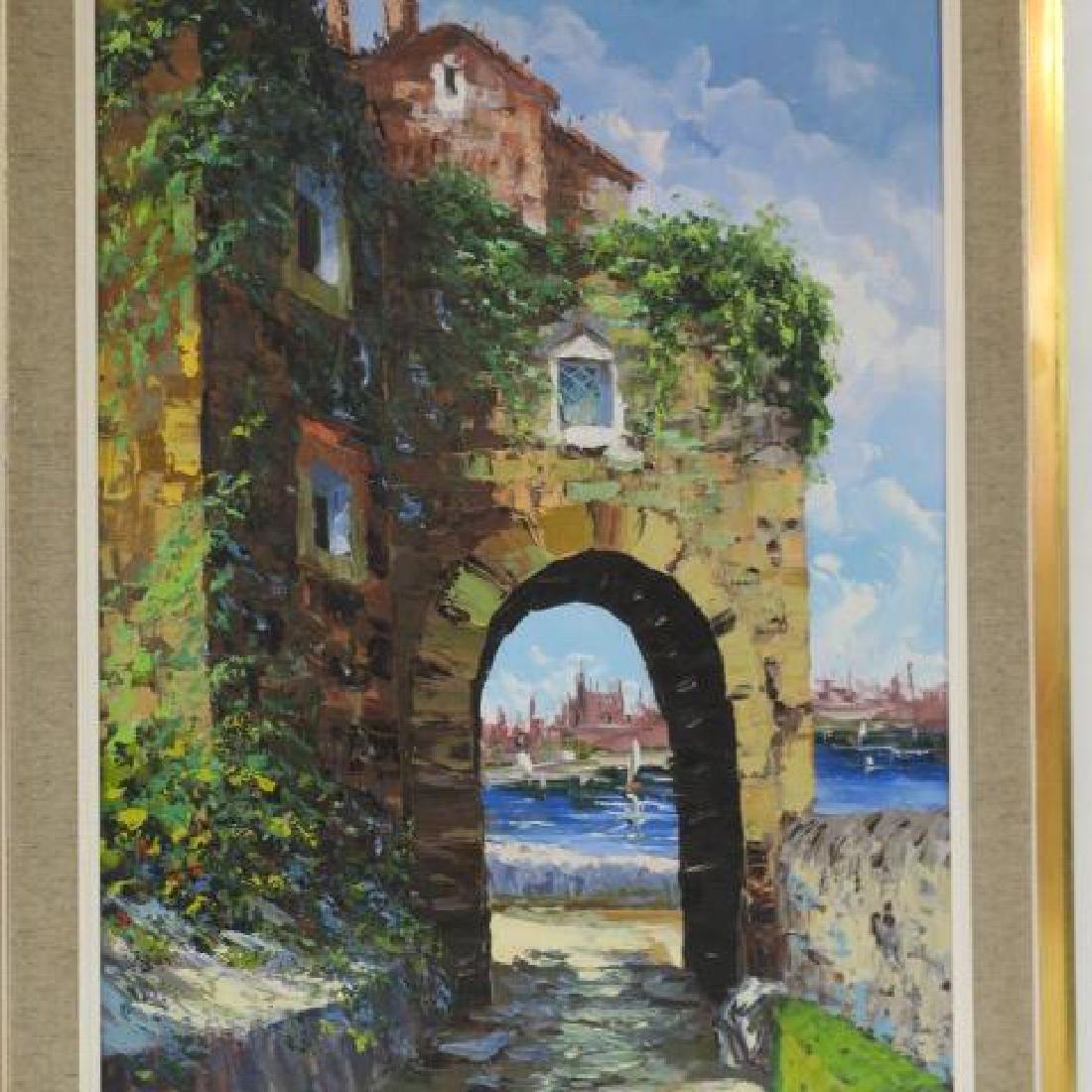 Seaside Scene Oil on Canvas Signed ELLER: - 2