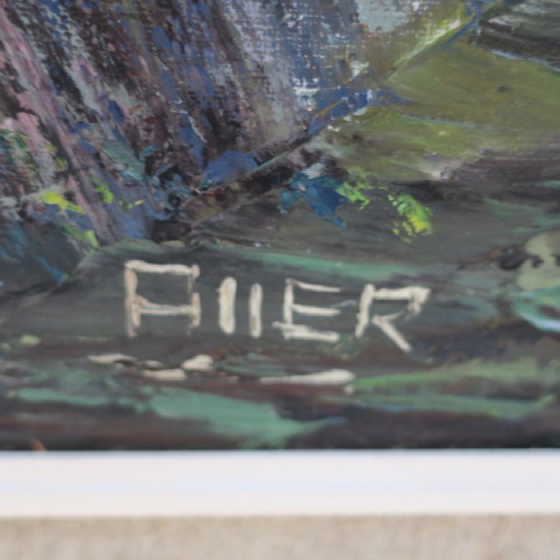 Seaside Scene Oil on Canvas Signed ELLER: - 3
