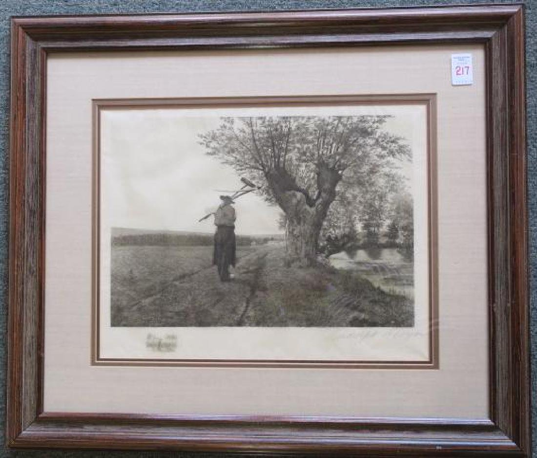 RALPH BLEYER Etching of Farmer with Remarque: