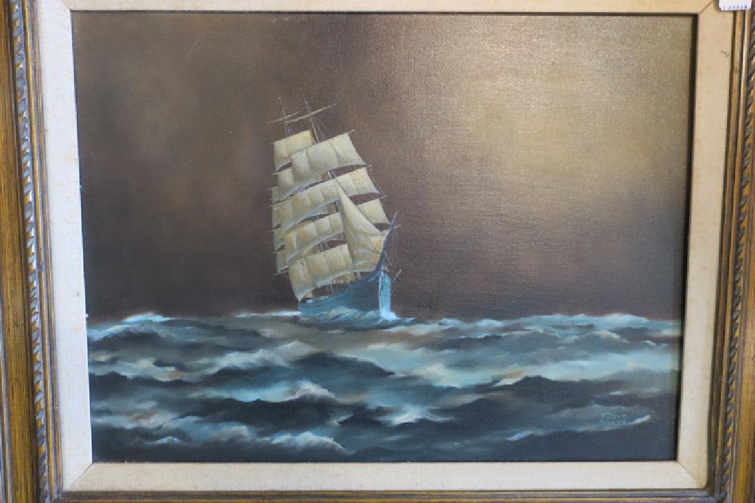 Clipper Ship Oil on Canvas Signed FLOYD SYKES: