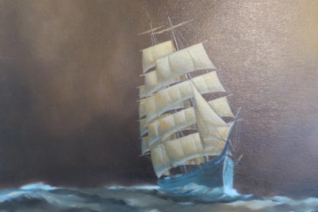 Clipper Ship Oil on Canvas Signed FLOYD SYKES: - 2