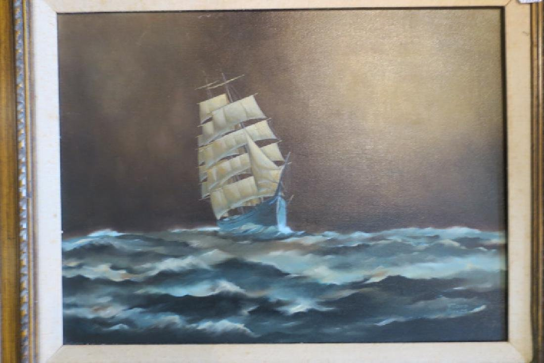 Clipper Ship Oil on Canvas Signed FLOYD SYKES: - 5