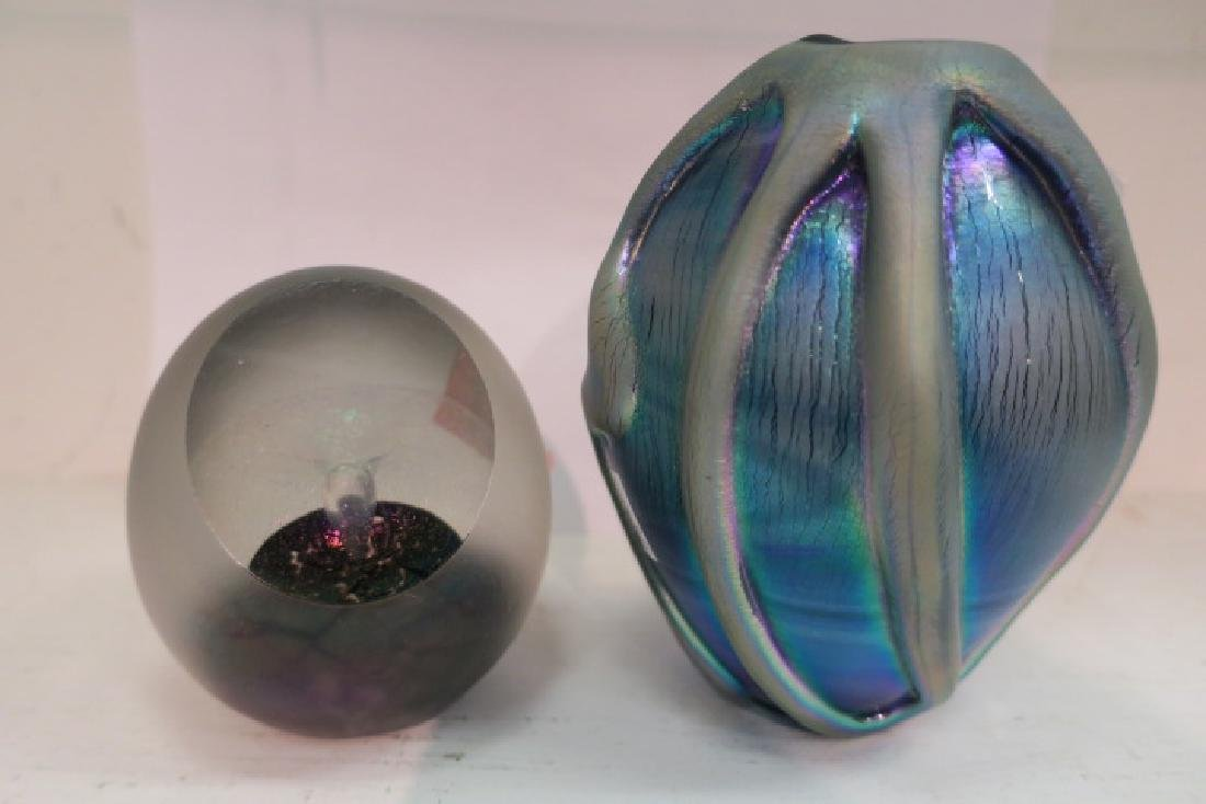Two R. Eickholt Pcs. Art Glass Vase & Paperweight: