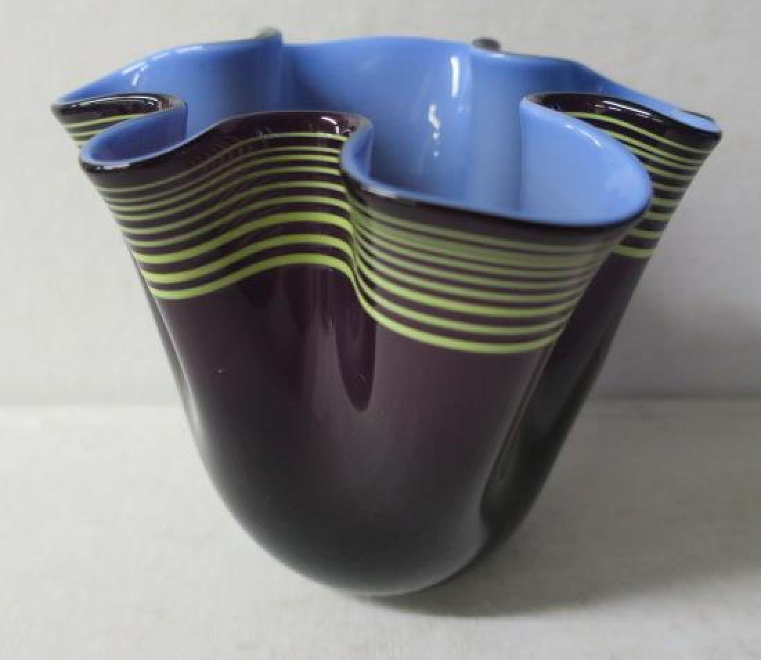 Modern Hand Blown Pinched 3 Color Vase: