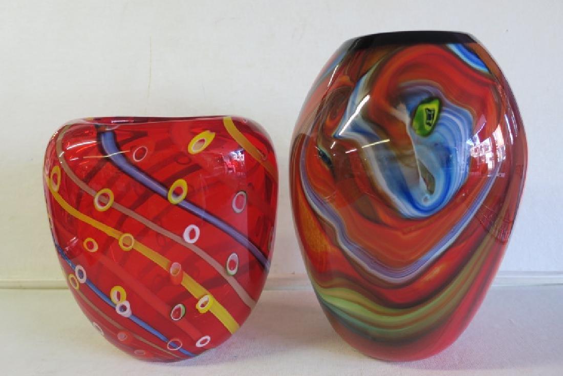 Two Modern Art Glass Vases:
