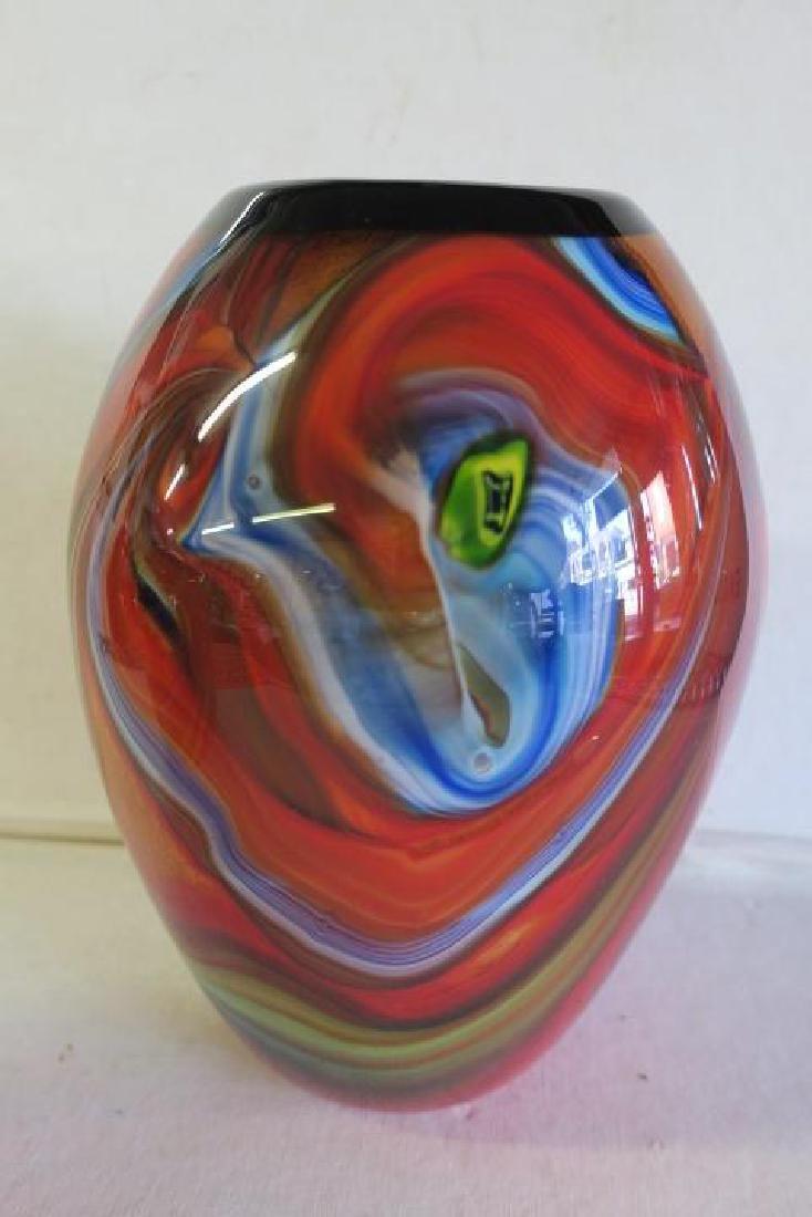 Two Modern Art Glass Vases: - 3