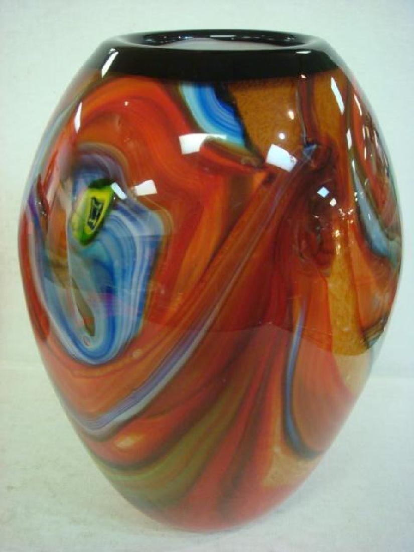 Two Modern Art Glass Vases: - 4
