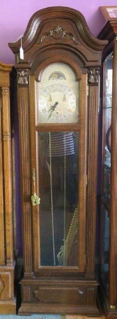 Western Germany Oak Tall Case Weight Driven Clock: