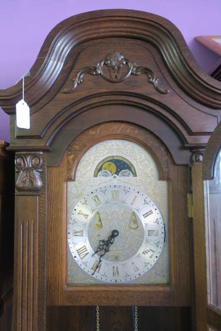 Western Germany Oak Tall Case Weight Driven Clock: - 2