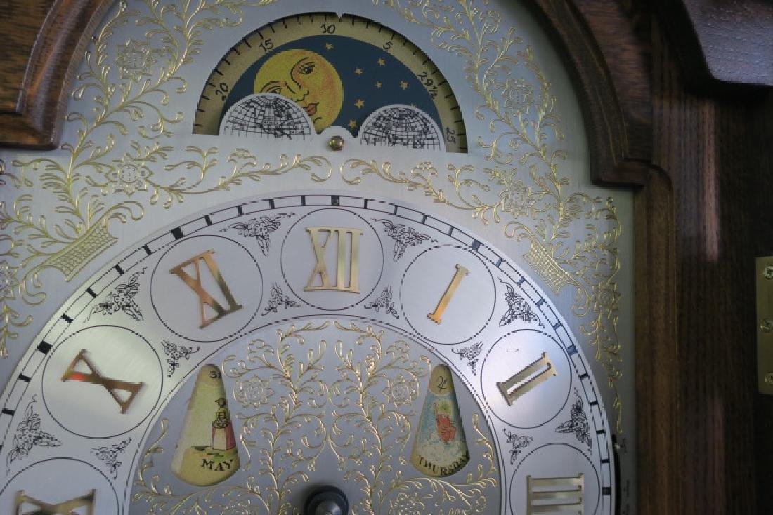 Western Germany Oak Tall Case Weight Driven Clock: - 4