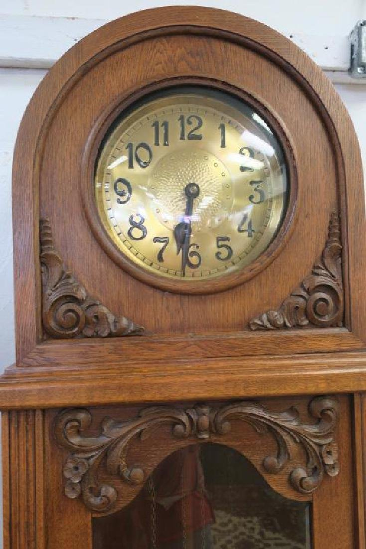 Oak Tall Case Weight Driven Clock, CA 1910: - 2