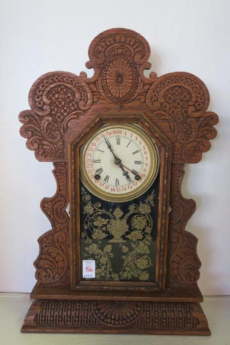 Gingerbread Oak Cased Calendar Kitchen Clock: