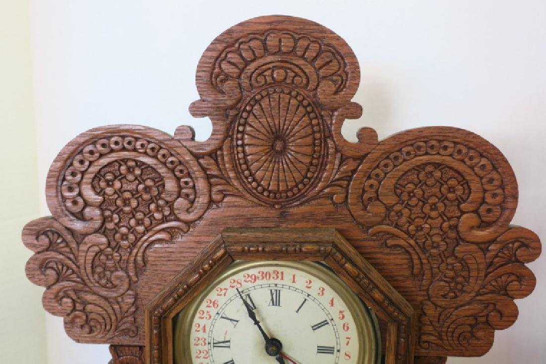Gingerbread Oak Cased Calendar Kitchen Clock: - 3