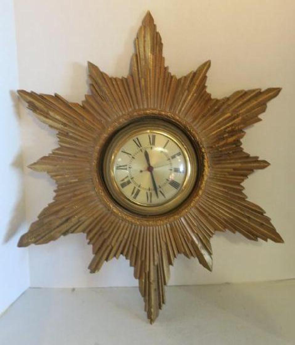Mid Century Modern Starburst Wall Clock: