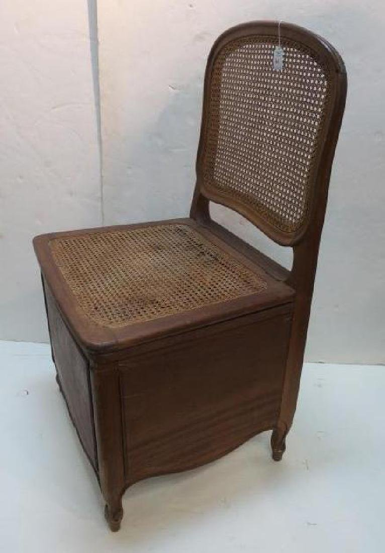 Antique Caned Commode Chair with Lift Seat: