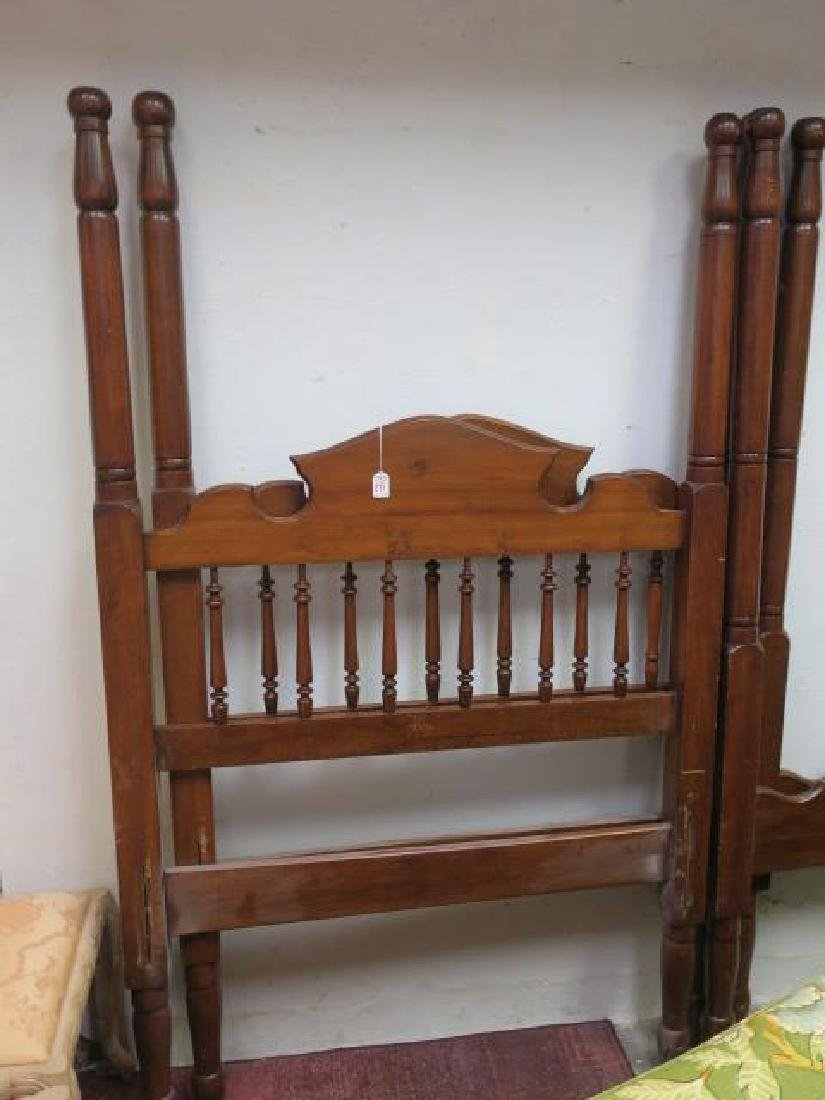 Pair of Walnut Twin Poster Beds: - 2
