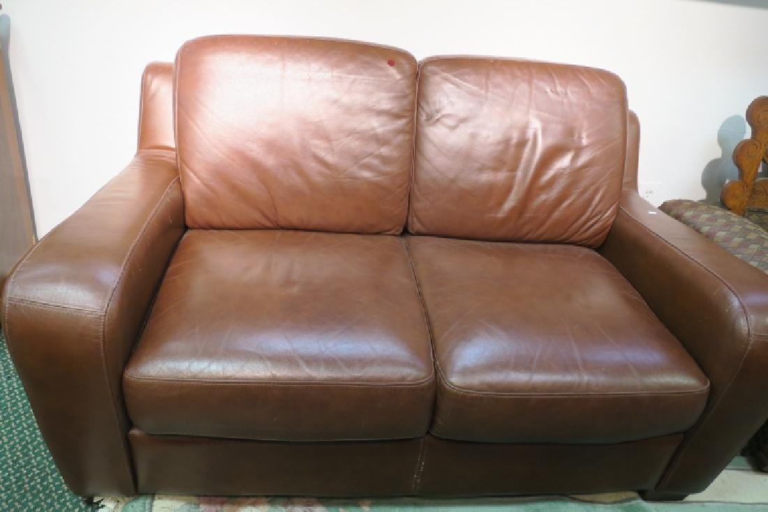 Chocolate Leather Upholstered Love Seat: