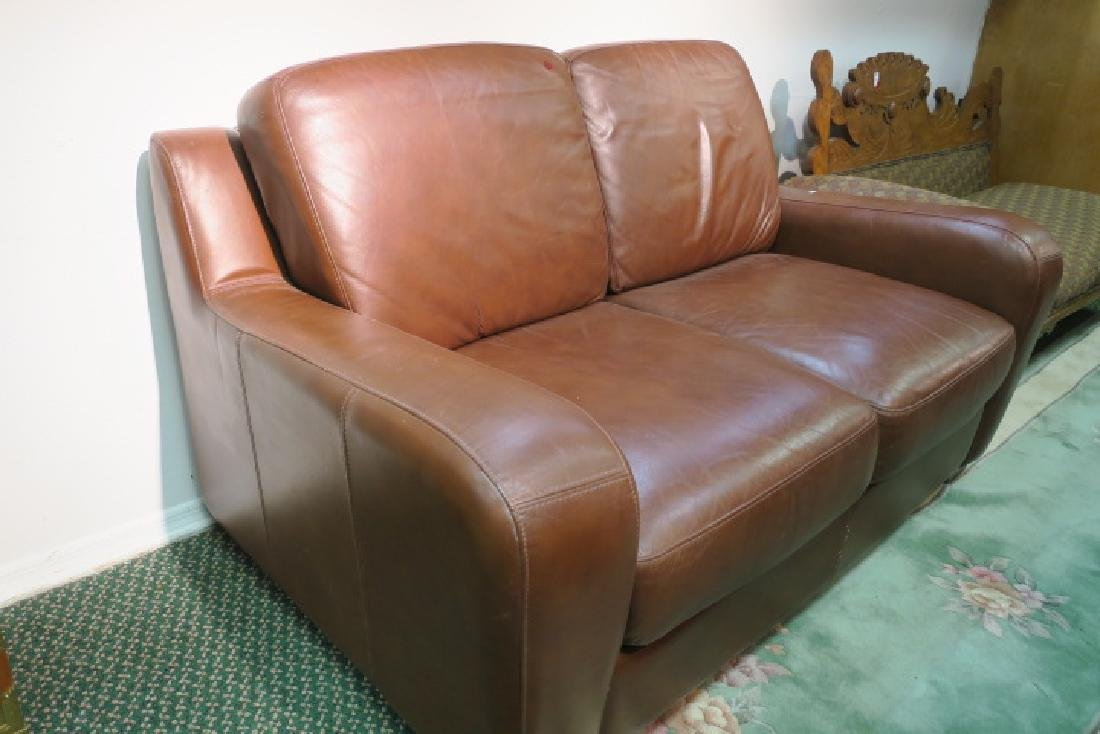 Chocolate Leather Upholstered Love Seat: - 2