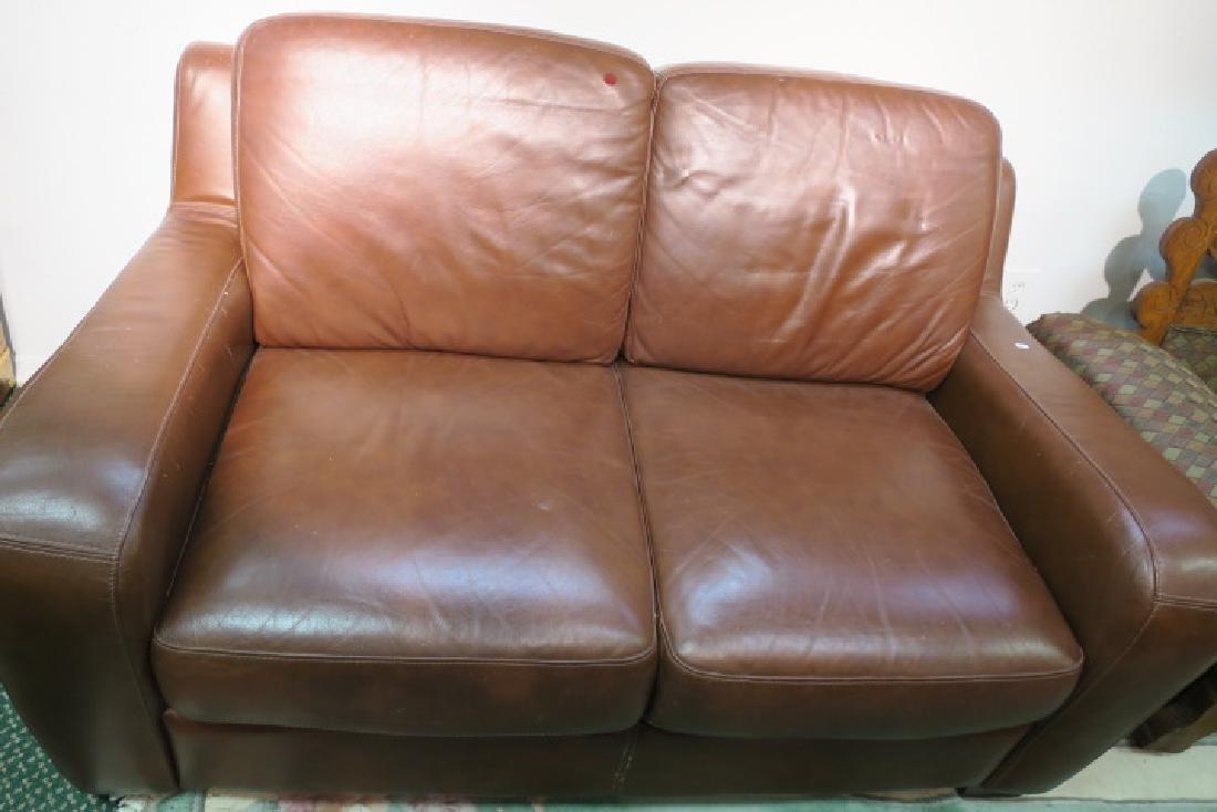 Chocolate Leather Upholstered Love Seat: - 3