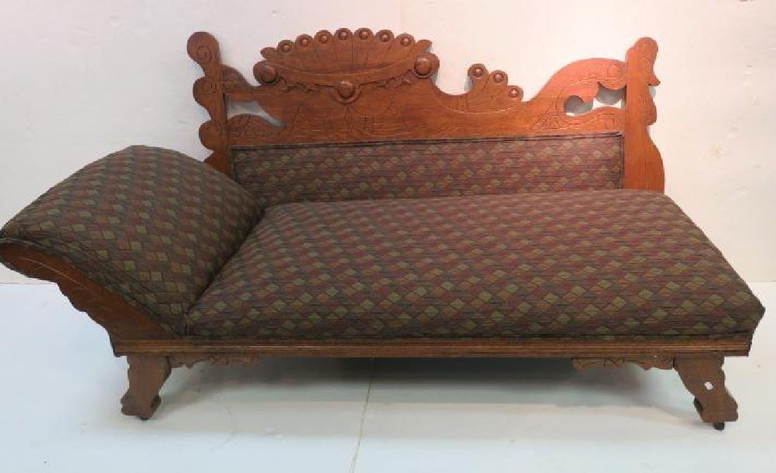 Rectilinear Eastlake Carved Oak Chaise: