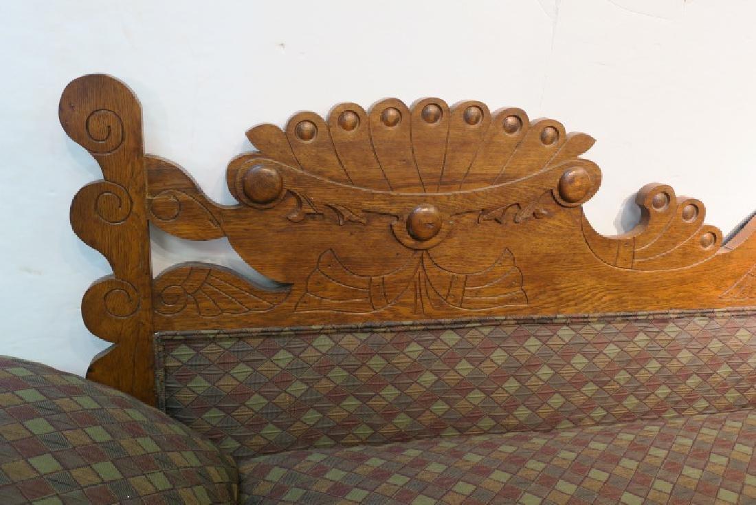 Rectilinear Eastlake Carved Oak Chaise: - 2