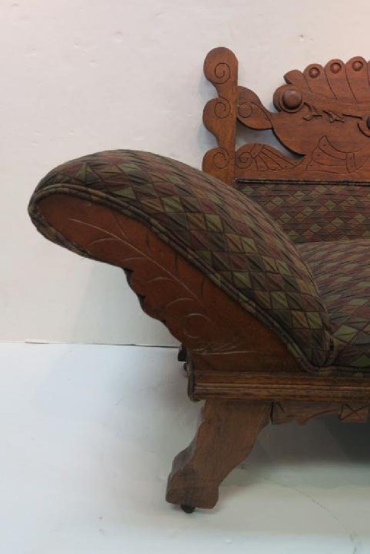 Rectilinear Eastlake Carved Oak Chaise: - 3