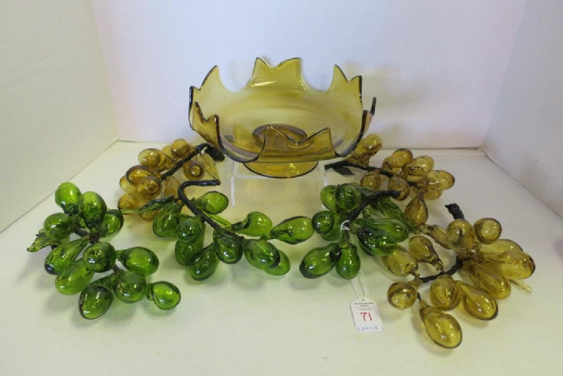 Amber and Green Blown Glass Grapes in Amber Bowl: