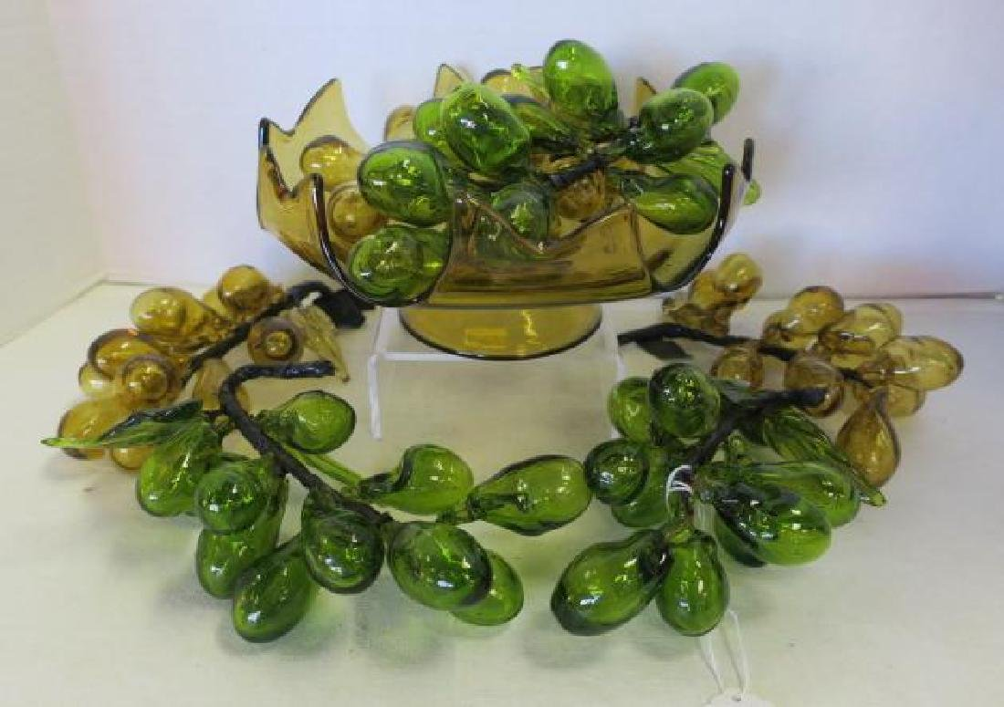 Amber and Green Blown Glass Grapes in Amber Bowl: - 4