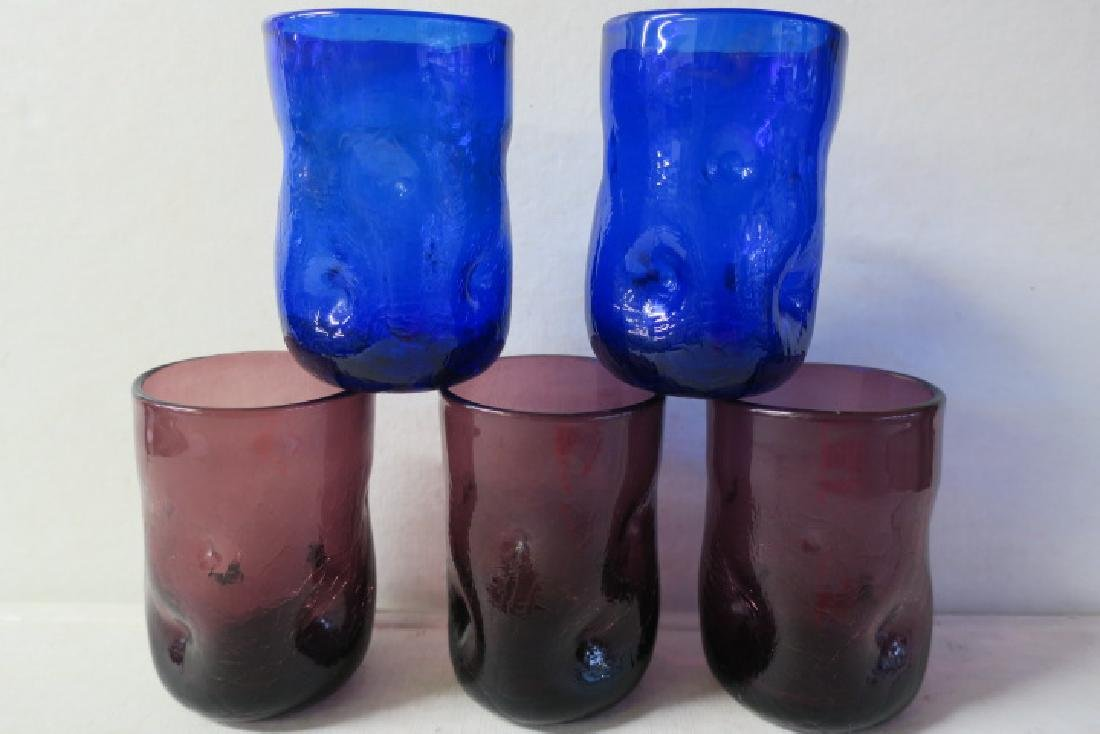 Set of Five BLENKO Pinched Hand Blown Glass Tumblers:
