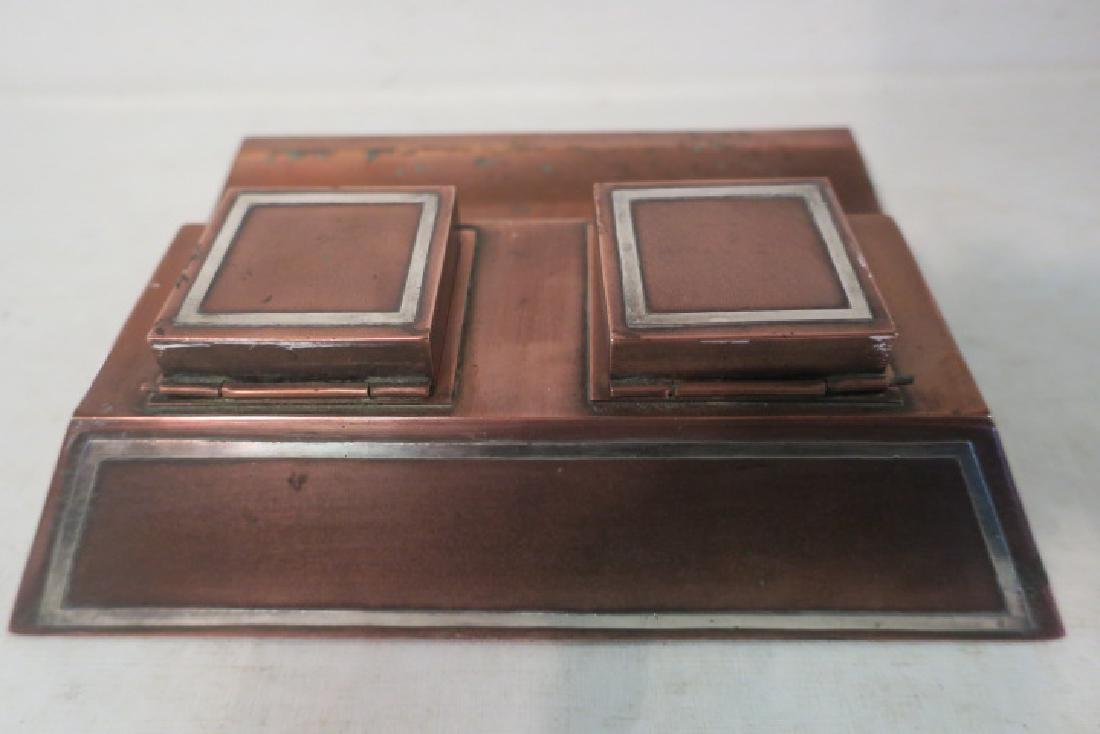 HEINTZ Arts & Crafts Sterling on Bronze Double Inkwell - 2