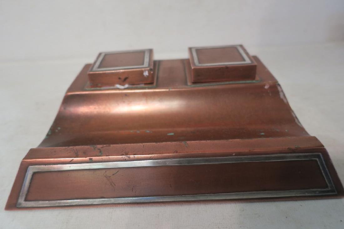 HEINTZ Arts & Crafts Sterling on Bronze Double Inkwell - 3