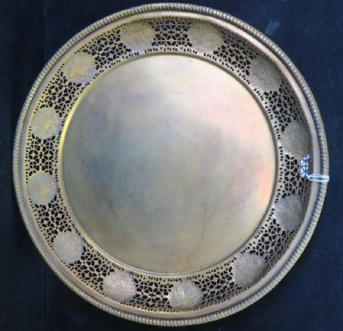 Large Gilt Metal Chinese Zodiac Reticulated Tray: