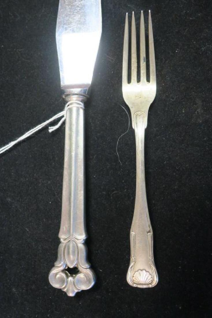 Assorted Sterling Silver Spoons, Fork, Ladles, Knife: - 4