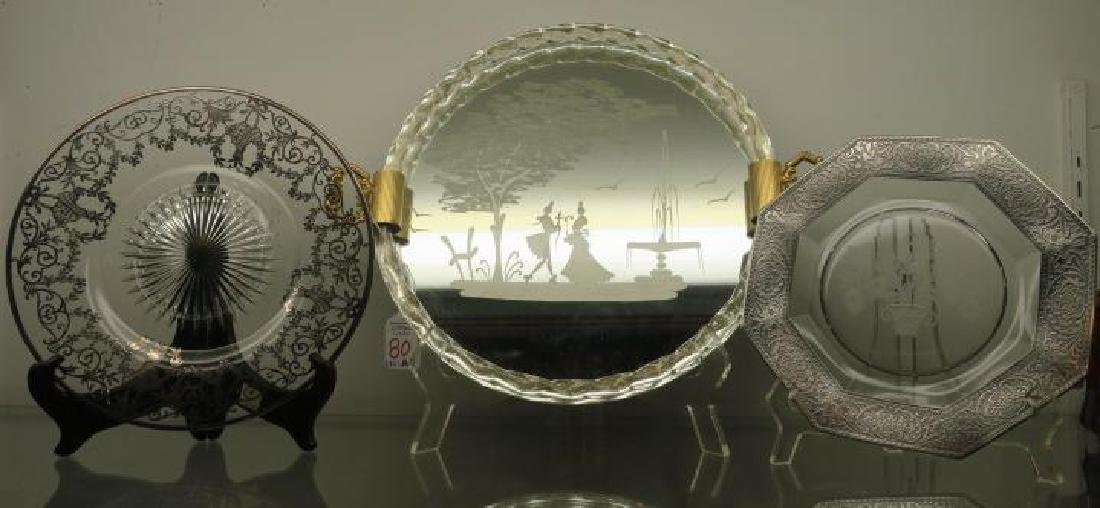 Murano Etched Mirror Tray, Two Silver Overlay Plates: